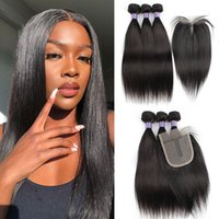 Human hair bundles with closure 200g set straight body wave ...