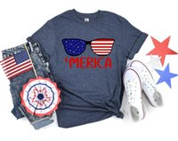 Women's T-Shirt Merica Sunglasses 4th Of July Independence Day Shirt Streetwear USA FLAG Short Sleeve T-Shirts 100% Cotton Top Tee Unisex Go