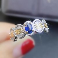 Cluster Rings Natural Real Blue Sapphire Ring Per Jewelry 925 Sterling Silver 4*6mm 0.6ct Gemstone Fine For Men Or Women J2121616