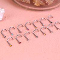 Stainls Çelik Yüzük 5-şekilli Rhintone 7-şekilli L-Şekilli Burun Tırnak Vücut Piercing Takı