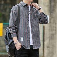 Новые 2021 весенние бренд мужские рубашки для мужской одежды с длинным рукавом Топы плюс размер CamiSas de Hombre Корейская винтажная полосатая одежда J3Q7