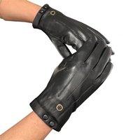 Men Winter Windproof Gloves High Quality Leather Glove Thicken Cashmere Designers Mitten Classic Sheepskin Touch Screen Mittens