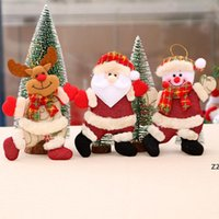Christmas Decoration Home Outdoor Tree Accessories Dancing Old Man Snowman Animal Small Fabric Doll Hanging Crafts Gifts Cloth HWF8976
