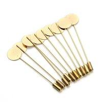 Venta al por mayor- 20pcs / lote 7,3cm Pin de seguridad chapado en oro Base de broches con tapón de punta plana para las mujeres Suministros de joyería de bricolaje Fabricación 304 T2