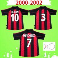 Liga 2000 2002 Copa Retro Jersey de fútbol Vintage Camisa de fútbol Inicio 0002 Classic AC Maglia da Calcio Maldini Shevchenko Beban Milán