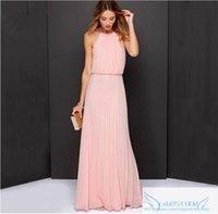 2022 Sheath Chiffon Bridesmaid Dress Long Halter Summer Pink Formal Evening Gowns Wedding Guest Dresses