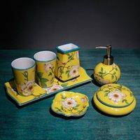 Conjunto de acessórios de banho acessórios de banheiro Cerâmica caixa de tecidos de sabão Dispenser Toothbrush Cup / titular frasco de vestir case presentes de casamento