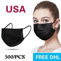 الولايات المتحدة الأمريكية في المخزون قناع القناع القابل للتصرف 500pcs حماية ثلاثية الطبقات والصحة الشخصية مع أقنعة الوجه الأنفولة الفم صحية Balck