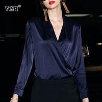 VGH 2021 yaz vintage gömlek kadınlar için v boyun uzun kollu düğme ince katı giyim üst kadın moda yeni gelgit