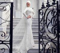 Abito da sposa abito da sposa musulmano arabo dubai stile splendido sirena pizzo perle abito da sposa con sciarpa turbante e velo