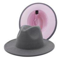 Unisex Dış Gri İç Pembe Patchwork Yün Keçe Jazz Fedora Şapkalar Ile İnce Kemer Toka Erkekler Kadınlar Geniş Brim Panama Trilby Cap