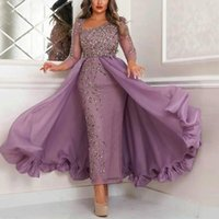 Gorgeous Purple Sheath Prom Dresses Three Quarter Sleeves Overskirt Ankle Lenght Party Gowns Crystal Beading Saudi Arabia Lady Evening Dress
