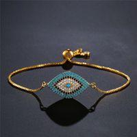 Trendy Turkish Gold Evil Eye Bracelet Pave CZ Blue Eyes Chain Bangles Adjustable Female Party Jewelry