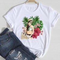 Short Sleeve Floral Beach Women Tops Cute Cartoon Summer Tshirts Fashion Clothes Graphic T Top Print Tee Shirt