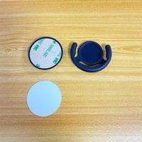 Conjunto completo Nuevo sublimación en blanco Teléfono móvil Titular de plástico con inserción de aluminio Trasnfer Soporte de impresión Soporte + gancho