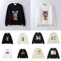 21SS женские мужские толстовки мода кошка животное осень и зима мужская длинная рукава с капюшоном пуловерная одежда толстовка