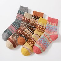 Men's Socks Winter 5 Pairs Thicken Sheep's Wool Warm Men Retro Style Colorful Fashion Man For Snow Boots