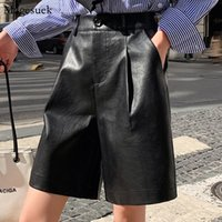 Autumn New Fashion Casual High Waist PU Leather Solid Pocket...