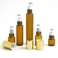 300pcs Wholesale Amber Glass Essential Oil Roller Bottles with Stainless Steel Balls Perfumes Lip Balms Roll On Bottles