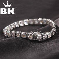 The Bling King 1 Row Quadrat Cut CZ 6.5mm Tennis Armband Gold Silber Farbe Tone 22 cm Kupfer Kubikzirconia Herren Hip Hop Schmuck