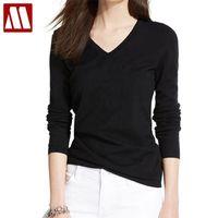 T-shirt da donna in cotone T-Shirt Solid manica lunga Casual Tee Plus Size Solleshirt Atacado Roupas Femininas Lady Abbigliamento Abbigliamento Top 210309