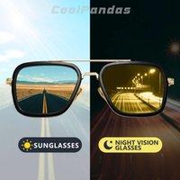 Square Vintage Designer Vapor Punk Tony Stark Óculos de Sol de Colorido Leiturais Homens Polarizados Lentes Amarelas Dirigindo Óculos de Sol