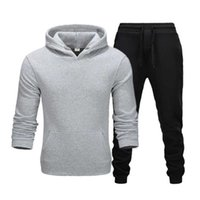 Men's Tracksuits 2021 Autumn And Winter Solid Color Sportswear Fashion Hoodie Suit Sports Shirt + Pants