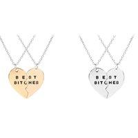 2pcs / set gemensamma hjärta bästa tikar halsband kärlek hänge halsband för kvinnor vänskap mode smycken kommer och sandig ny
