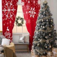 Curtain & Drapes Snowflakes Stars Flying Reindeer Merry Chrismas Theme Decorating Artwork Printed Red White