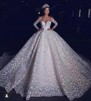 Princess 3D Floral Wedding Gowns 2022 Long Sleeves Lace Sheer Neck Off the Shoulder Chapel Train Custom Made Plus Size Bridal Party Dresses For Church