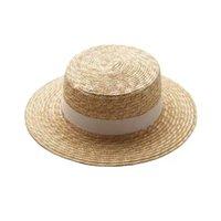 2019 Pop Hot Summer Damen Beilage Strand Hut Weibliche Beiläufige Panama Hut Dame Marke Klassische Flacher Bowknot Stroh Sonnenhut Frauen Fedora C0305 Y0910