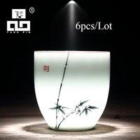 Bardaklar Tabaklar Tangpin 6 Adet Geleneksel Seramik Çay Kupası Handpainted Çin Porselen Teacups Drinkware Setleri 150ml