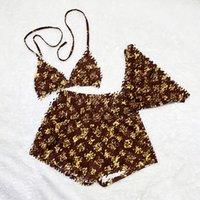 3pcs Suit Women Swimwear Letter Designer Bikini Suit Classic Print Lace-up Bra Crop Top + Briefs + Shorts Swimsuit Ladies Beachwear S-2XL