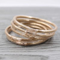 STRATHSPEY gold glitter jelly bangle light weight plastic bangles silicone christmas bracelet powder lining jewelry 1set 5pcs