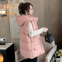 Women's Vests Down Cotton Vest Women Top Mid-Length Loose Hooded Coat Winter Sleeveless Chaleco Mujer Korean Solid Warm Wild Female Jacket