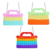Fidget Toys Love Heart Push Bubble Fashion Shoulder Bag Handbag Autism Needs Sensory Squeeze Stress Reliever Adult Kids Gift
