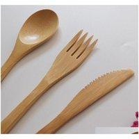 Novo conjunto de talheres de bambu natural colher de bambu faca de faca de jantar conjunto adulto estilo japonês b jllpui xmh_home