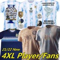 2021 Argentina Maradona Messi Futebol Jerseys 200 Aniversário Kun Agüero di Maria Lo Celso Martinez Correa Edição Especial Homens Kits Kits Jersey Camisas 4xl