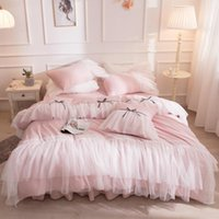 Bedding Sets Pink Lace Set Cotton Twin Full Queen King Size Bed Skirt Duvet Cover Girls Kids Bedclothes Pillowcase