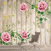Wallpapers retro rosa stieg auf holzboard wallpapier home decoration für wohnzimmer bett hintergrund wandbilder selbstklebende rollen 3d