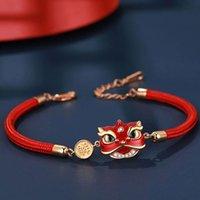 Bracelet de danse Guochao Palace Musée L'Année de la vie Rouge Rope Lion Bracelet Couple Couple Étudiants Nouvel An Noël Cadeau