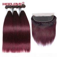 Пакеты ommre с лобовым закрытием бразильские прямые человеческие волосы плетение с 13 * 4 лобных двух тональных цветов T1B 30 27 99J Burgundy