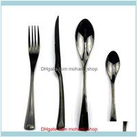 Sets Flatware Kitchen, Dining Bar Home & Gardenflatware Black Set 4Pcs Knife Fork Spoon 304 Stainless Steel Dinnerware Travel Cutlery Utensi