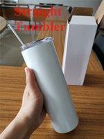 20oz sublimação de tumblers retas em branco branco vácuo de aço inoxidável isolado cônico Slim DIY 20 Oz Cup carro canecas e palha