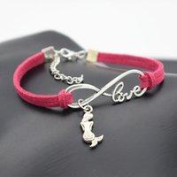 10 pçs / lote infinito amor 8 pulseira Sereia Charme Pingente Mulheres / Homens Simples Braceletes / Bangles Gift Gift N2