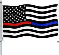 العلم الأمريكي 90 سنتيمتر X150 سنتيمتر موظف إنفاذ القانون قانون التعديل الثاني شرطة شرطة غرامة الخط الأزرق بيتسي روس أعلام DHE7346