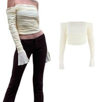 Women's T-Shirt Sexy Off Shoulder T-shirt, Fashion Trend, Straight Fold, Solid Color Bell Mouth Sleeve Mesh Cut Top, Slim