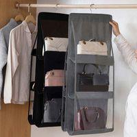 Storage Bags 6 Pocket Hanging Handbag Organizer For Wardrobe Closet Transparent Bag Door Wall Clear Sundry Shoe With Hanger Pouch
