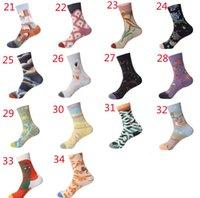 34 styles fashion designer oil painting mid-calf length sock men women luxury unisex Autumn winter pure cotton keep warm knitting stockings sports socks