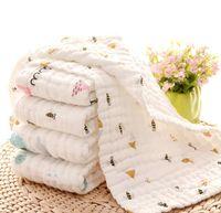 Baby Bath Towels 100% Cotton Gauze Newborn Burp Cloths Muslin Baby Face Towel Infant Boys Girls Washcloth 17 Cartoon Designs